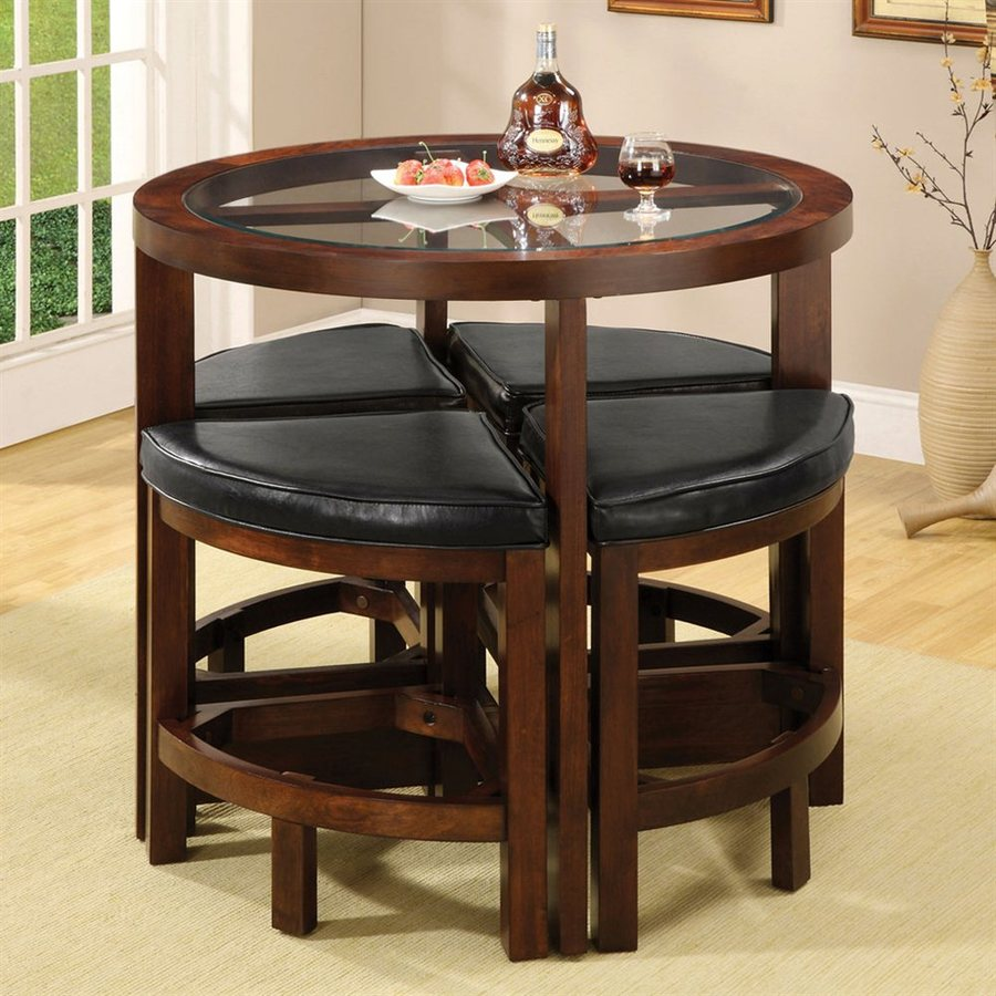 Furniture of America Crystal Cove Dark Walnut Dining Set with Round Counter Table
