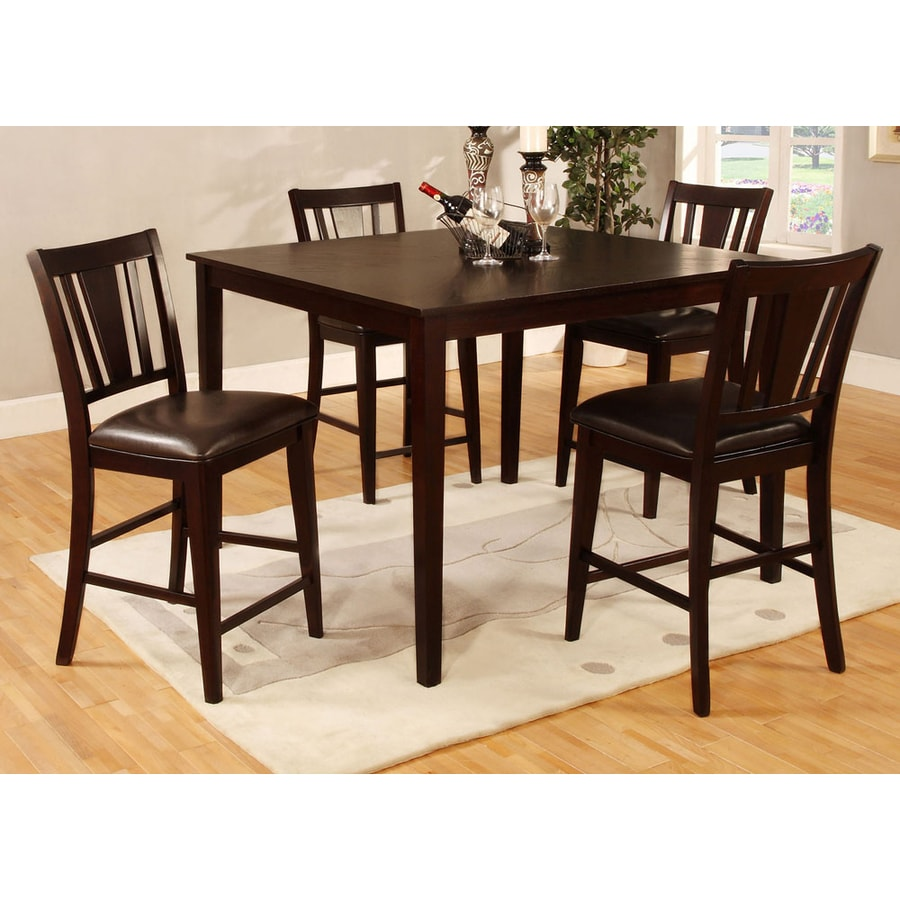 Furniture of America Bridgette II Espresso 5-Piece Dining Set with Counter Height Table