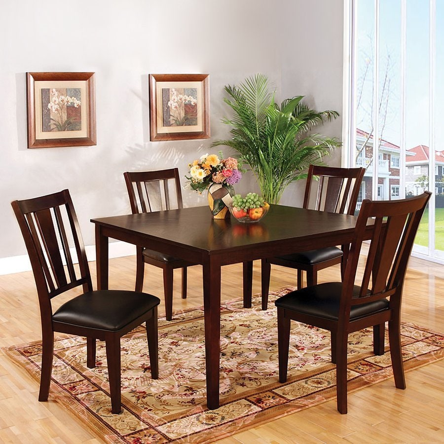Shop furniture of america bridgette i espresso dining set for Wood dining table set