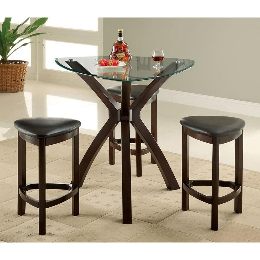 Furniture of America Xanti Espresso Dining Set with Triangular Counter (35-in- 37-in) Table