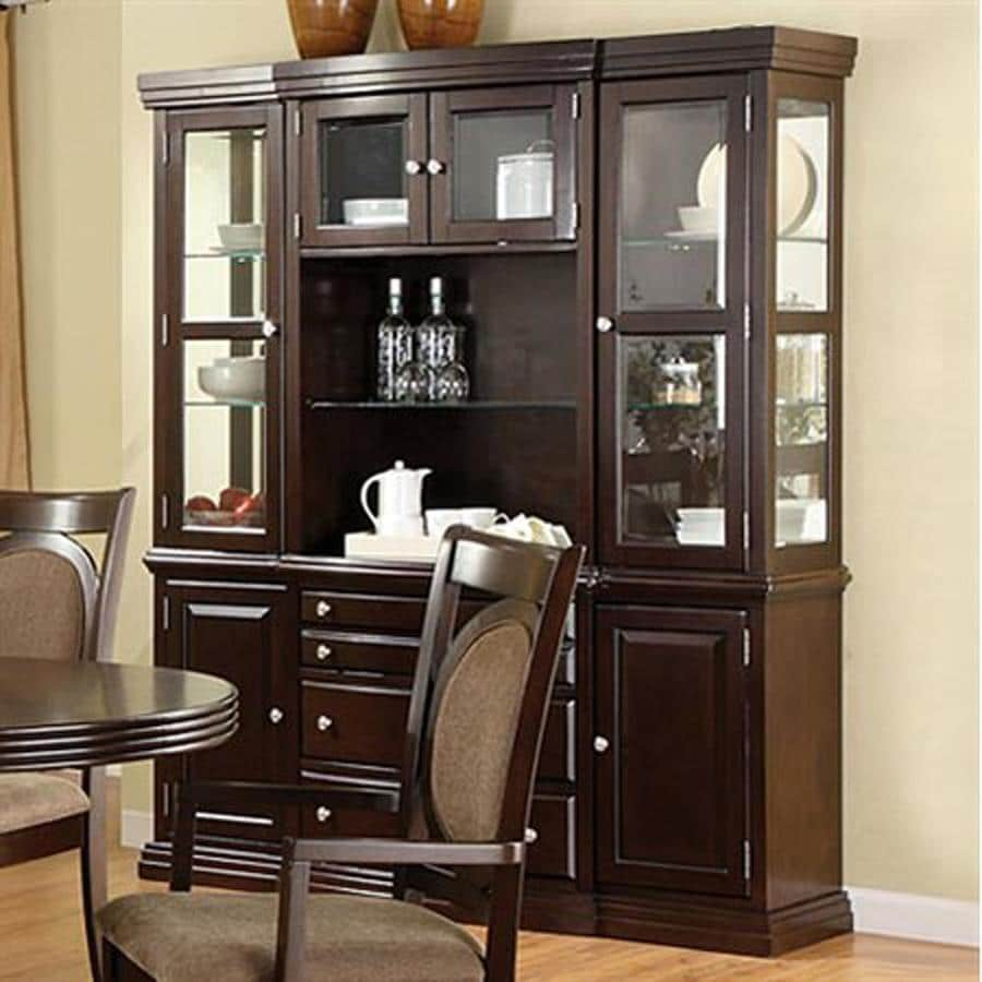 Furniture of America Evelyn Dark Walnut Rectangular Buffet with Hutch