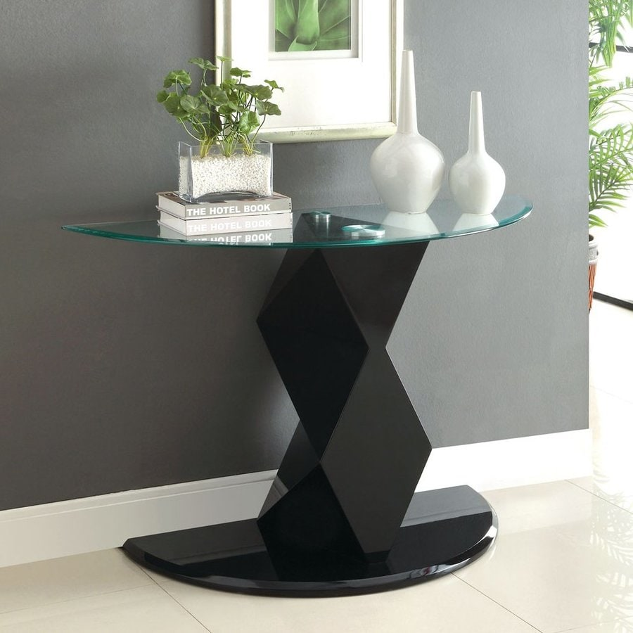 Furniture Of America Halawa Black Half Round Sofa Table