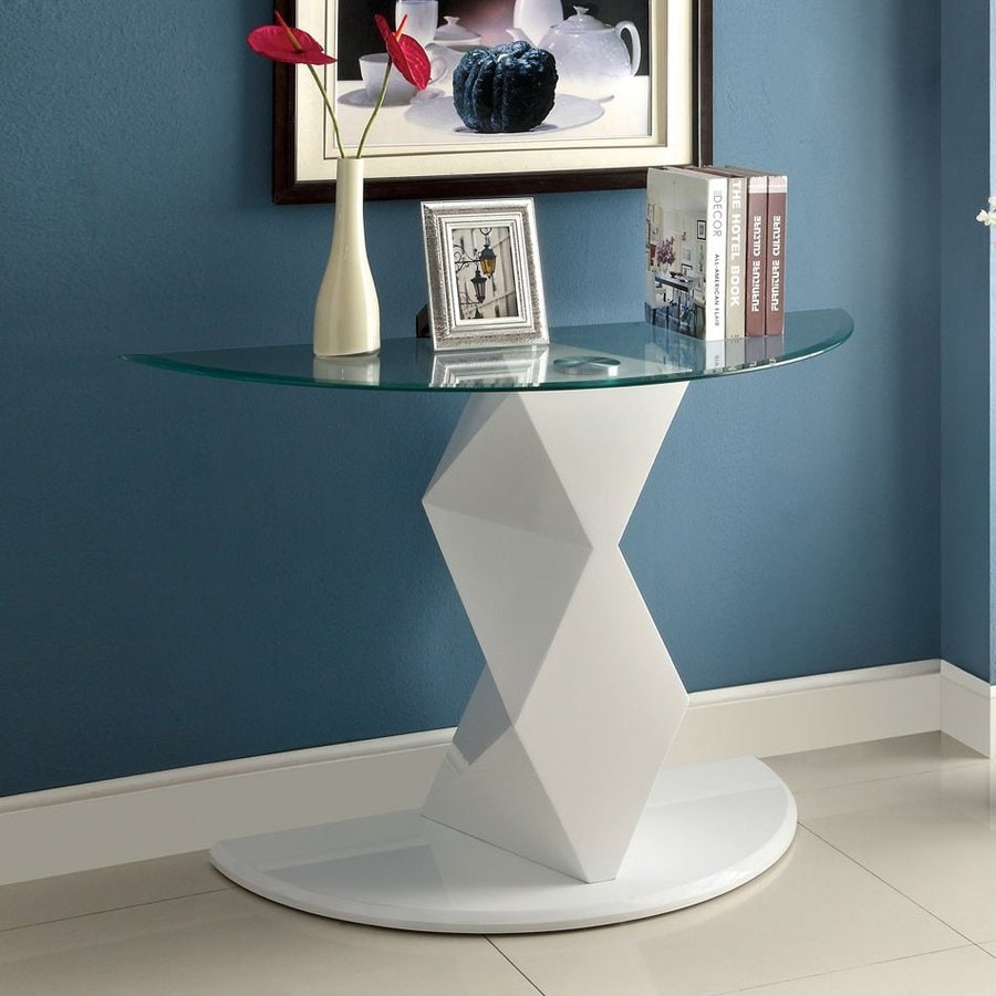 Furniture of America Halawa White Half-Round Sofa Table