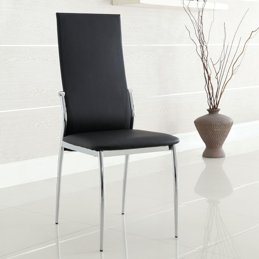 Furniture of America Set of 2 Kalawao Contemporary Black Side Chairs