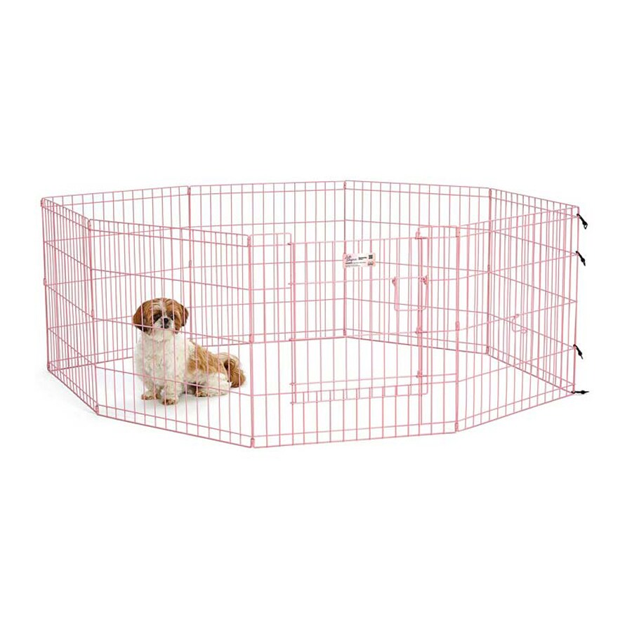 midwest pets Life Stages 24-in x 24-in Pink Metal Indoor/Outdoor Exercise Pen