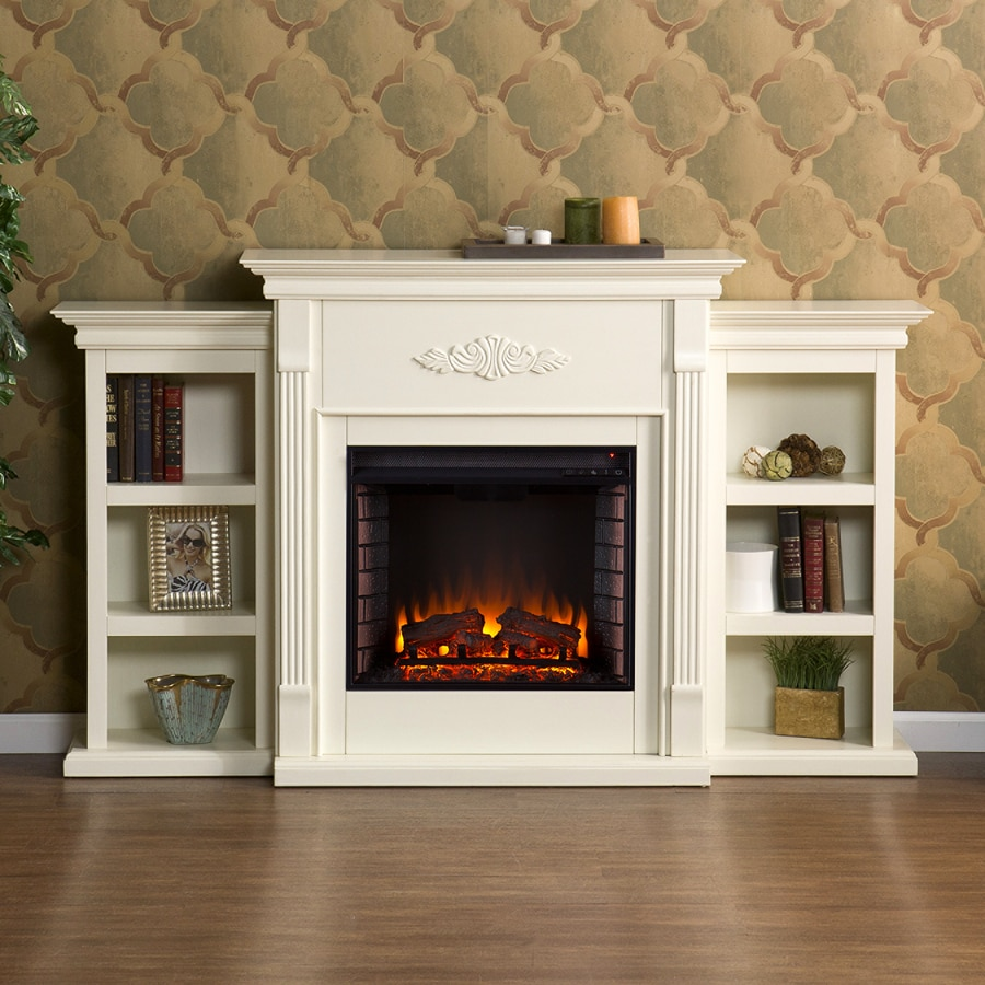 Boston Loft Furnishings 70.25-in W 4700-BTU Ivory Wood Veneer Fan-Forced Electric Fireplace with Thermostat and Remote Control
