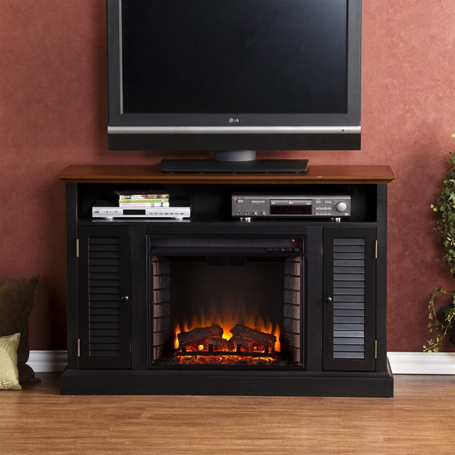 Boston Loft Furnishings 48-in W 4700-BTU Black/Walnut Wood and Wood Veneer Fan-Forced Electric Fireplace with Thermostat and Remote Control