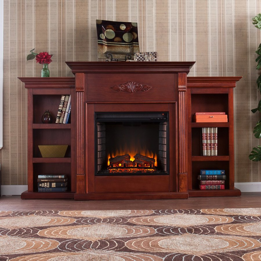 Boston Loft Furnishings 70.25-in W 4700-BTU Classic Mahogany Wood Veneer Fan-Forced Electric Fireplace with Thermostat and Remote Control