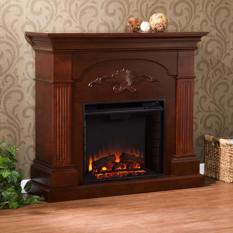 Boston Loft Furnishings 44.75-in W 4700-BTU Mahogany Wood Veneer Fan-Forced Electric Fireplace with Thermostat and Remote Control