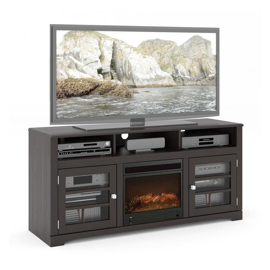 CorLiving 60-in W Mocha Black Wood Electric Fireplace with Media Mantel and Remote Control