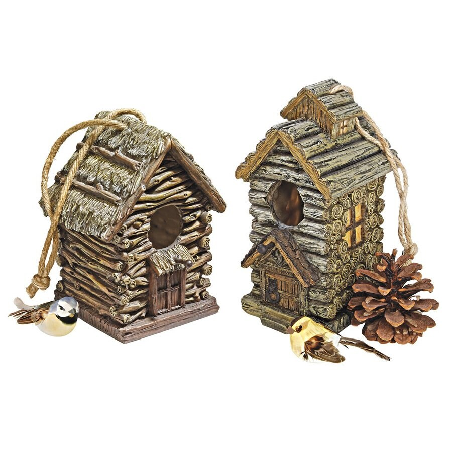 Design Toscano Set of 2 Wood Tone Bird Houses