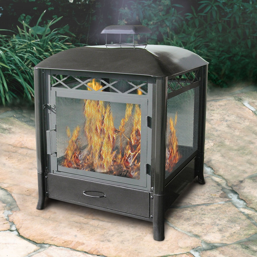 Shop landmann usa black steel outdoor wood burning for Where to buy outdoor fireplace