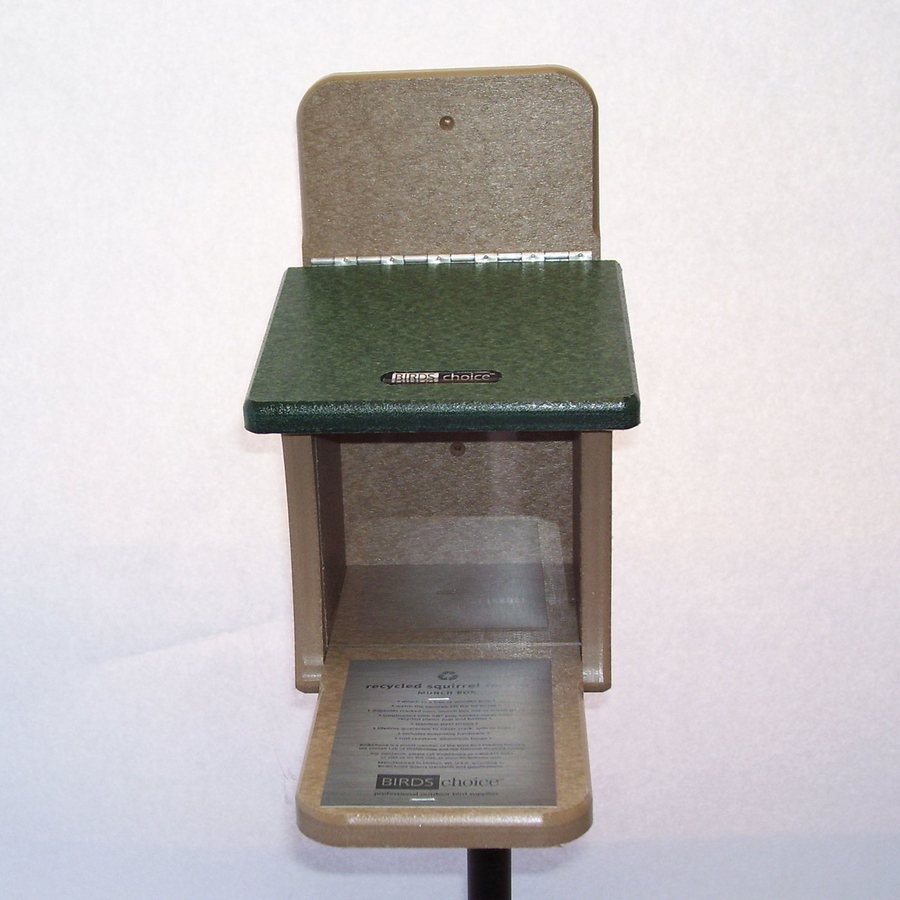 Birds Choice Taupe/Green Plastic Lidded Box Squirrel Feeder