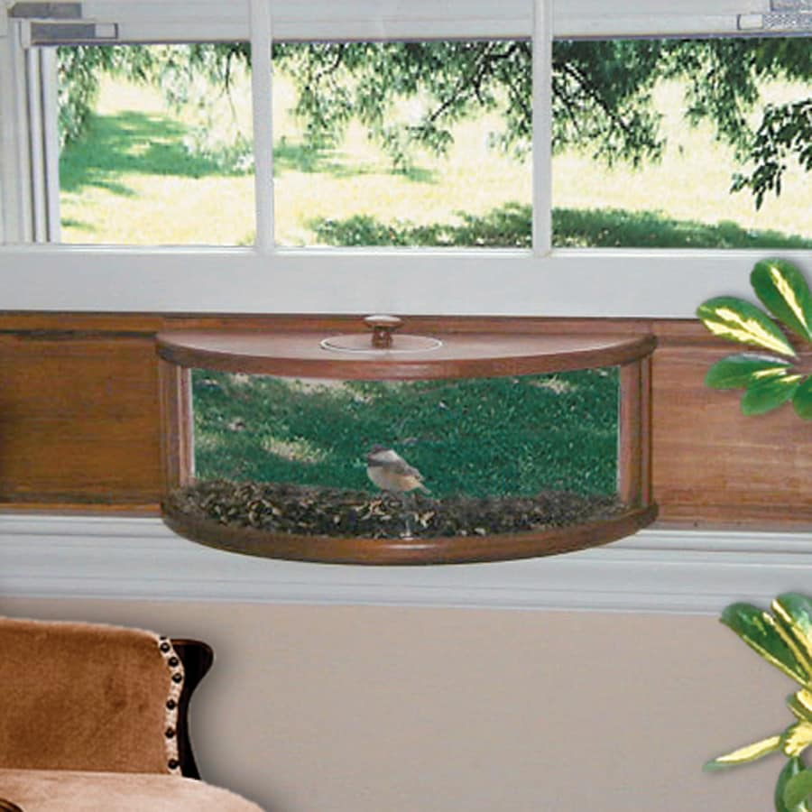 Window bird feeder cat - Coveside Conservation Panoramic Wood Window Bird Feeder