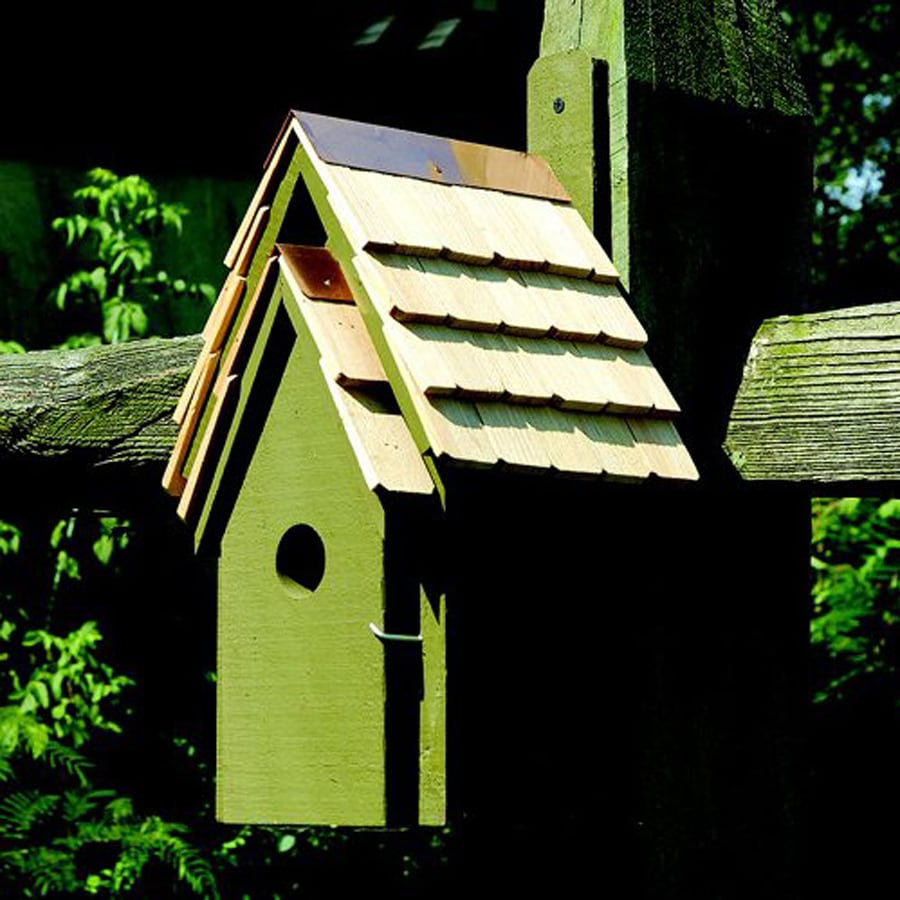 Heartwood 8-in W x 16-in H x 8-in D Pinion Green Bird House