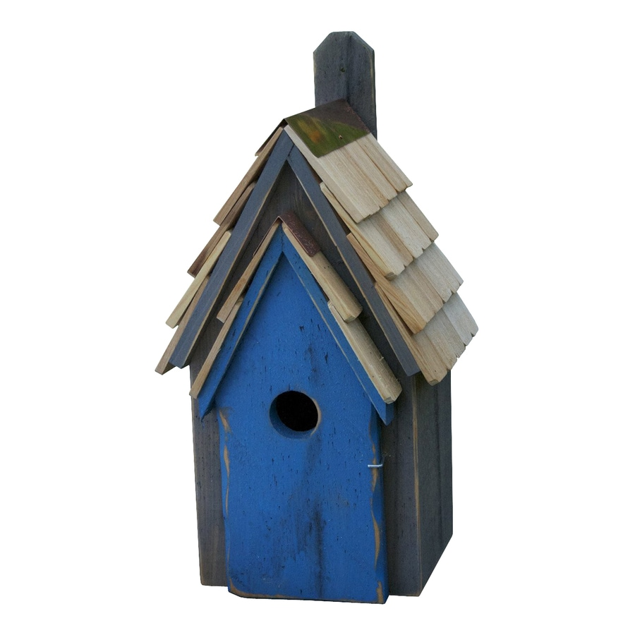 Heartwood 8-in W x 16-in H x 8-in D Grey/Blue Bird House