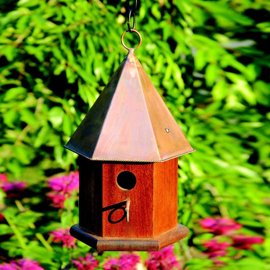 Heartwood 7-in W x 15-in H x 7-in D Oiled Mahogany/Bright Copper Bird House