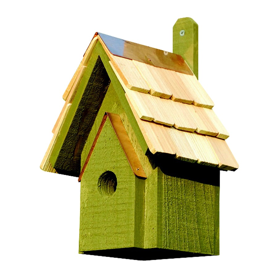 Heartwood 6-in W x 12-in H x 6-in D Pinion Green Bird House