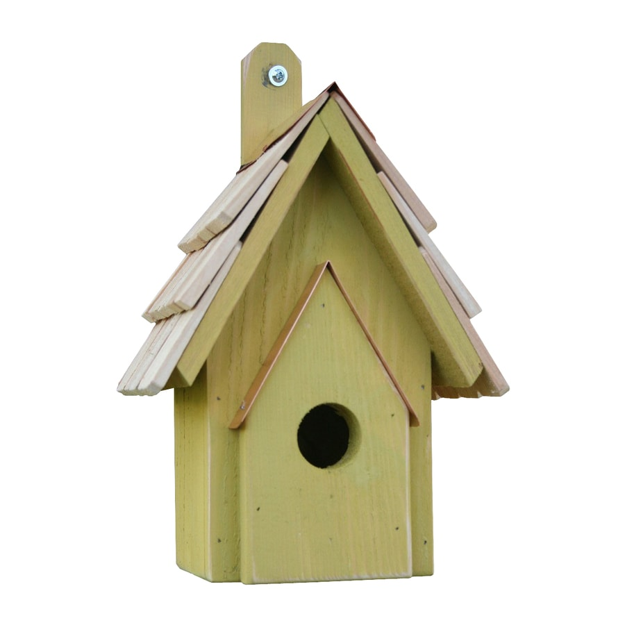 Heartwood 6-in W x 12-in H x 6-in D Yellow Bird House