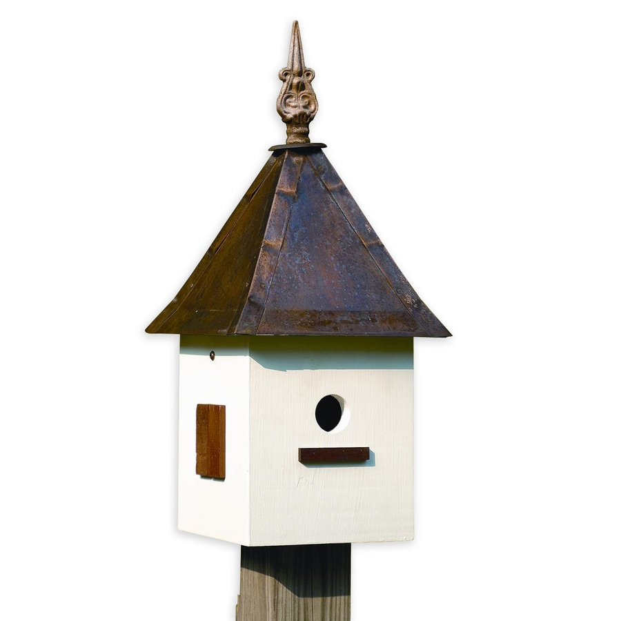 Heartwood 10-in W x 21-in H x 10-in D Antique White Bird House
