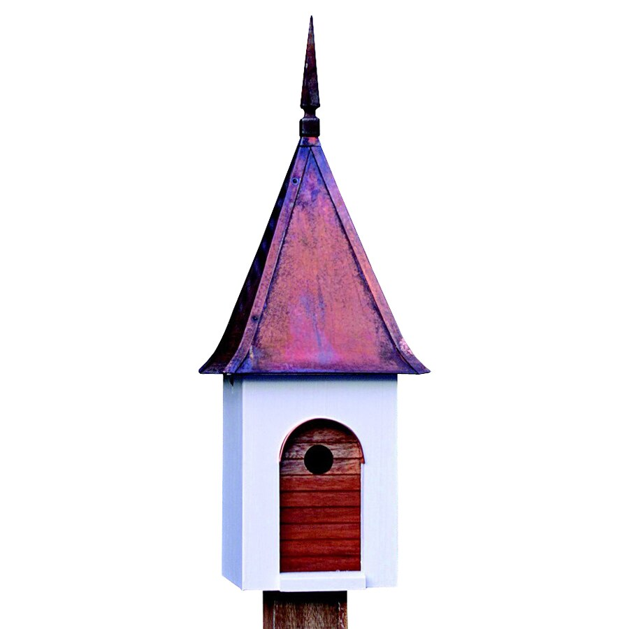Heartwood 11-in W x 29-in H x 11-in D White/Oiled Mahogany Bird House