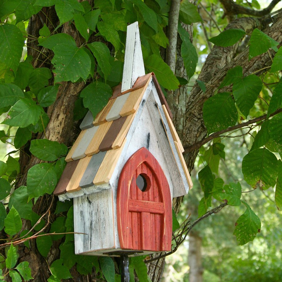 Heartwood 8-in W x 16-in H x 6-in D Antique White/Red Bird House