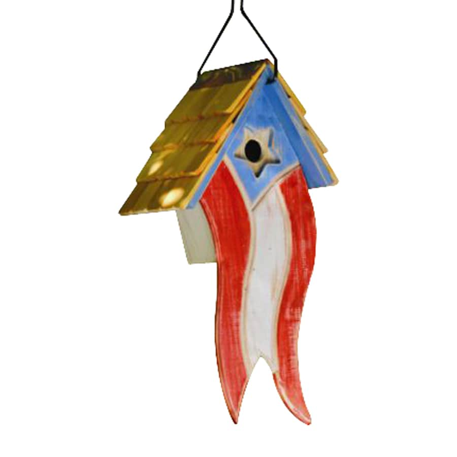 Heartwood 10-in W x 19-in H x 7-in D Red/White/Blue Bird House