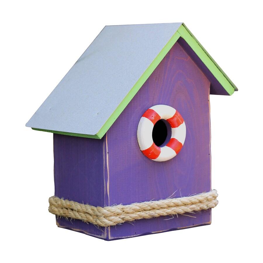 Heartwood 9-in W x 11-in H x 7-in D Purple Bird House