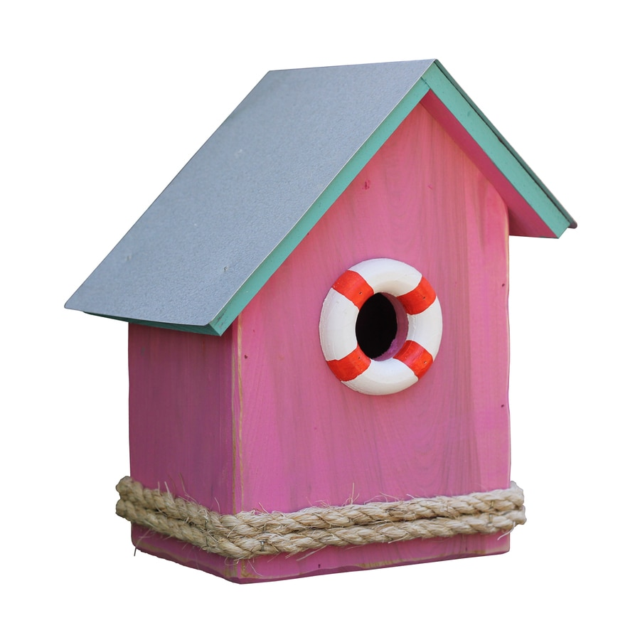 Heartwood 9-in W x 11-in H x 7-in D Pink Bird House
