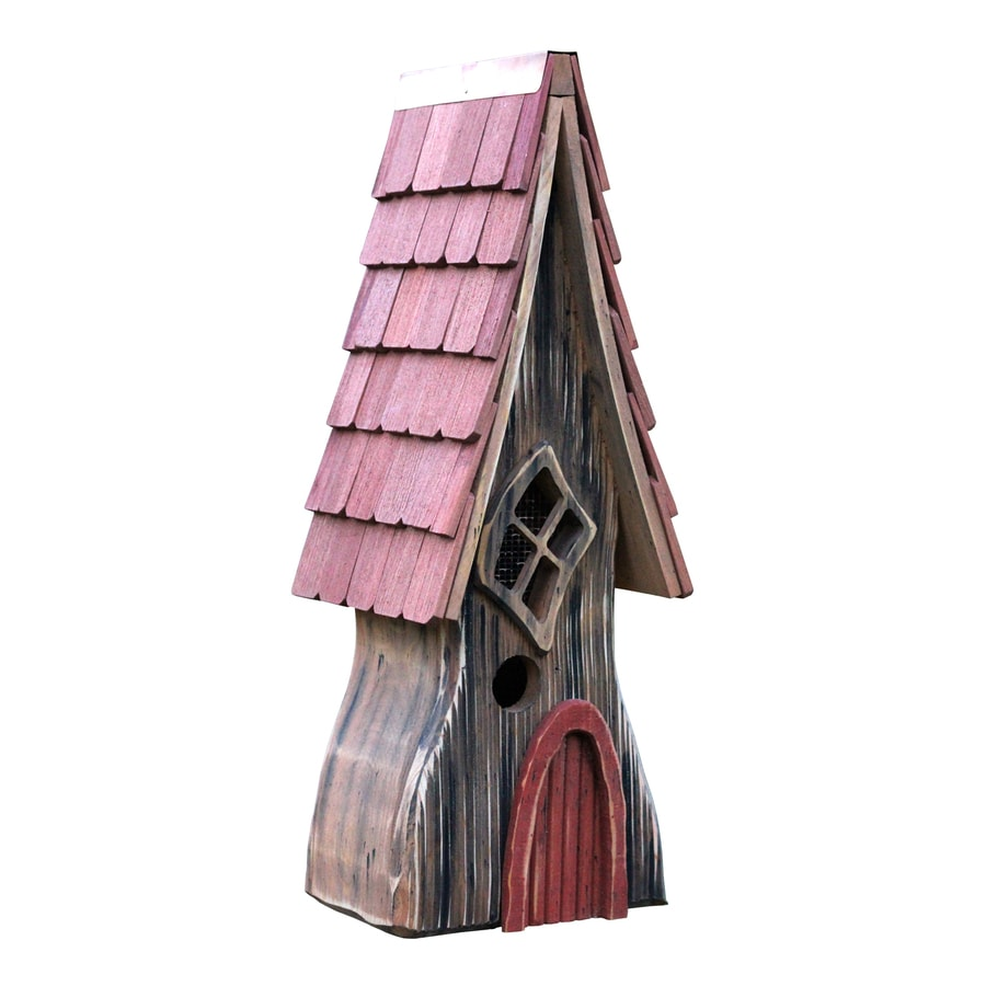 Heartwood 9-in W x 24-in H x 8-in D Natural/Red Bird House
