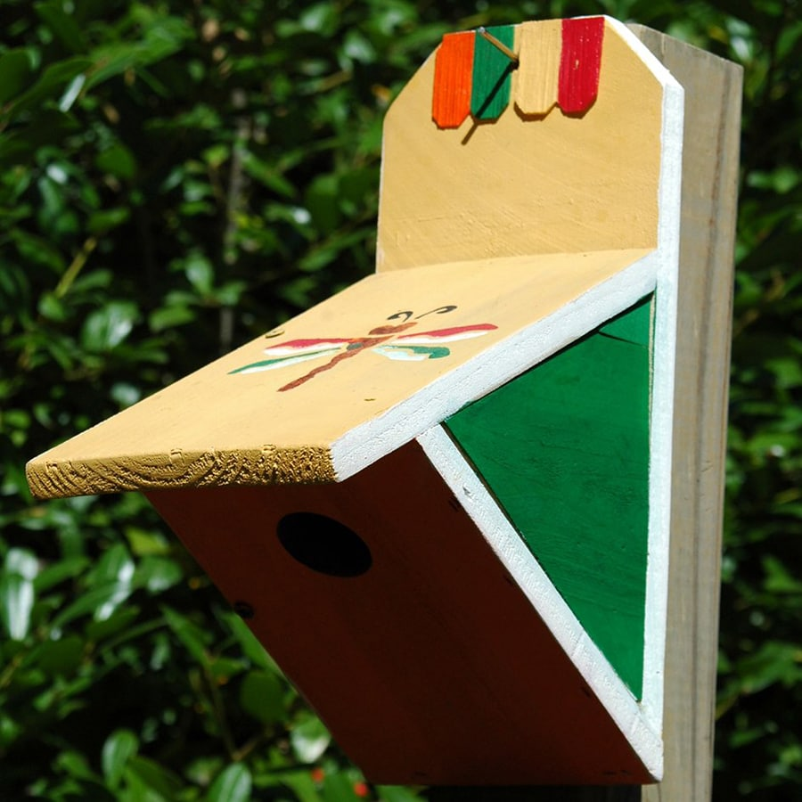 Wilderness Series Products 10-in W x 12-in H x 6-in D Yellow/Green/Red Bird House