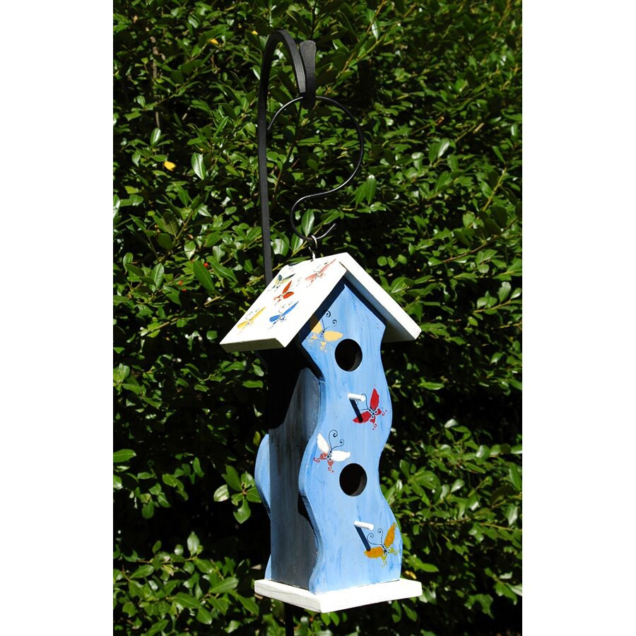 Wilderness Series Products 8-in W x 16-in H x 6-in D Blue/White Bird House