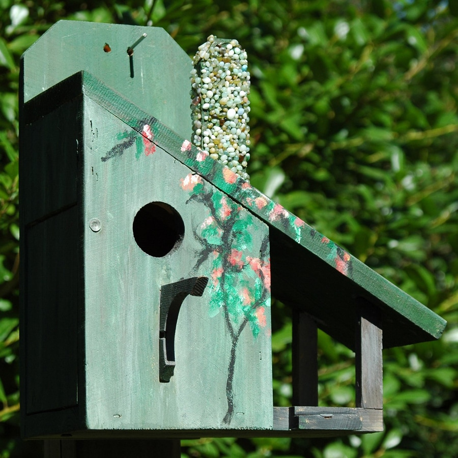 Wilderness Series Products 11-in W x 13-in H x 8-in D Green/Grey Bird House