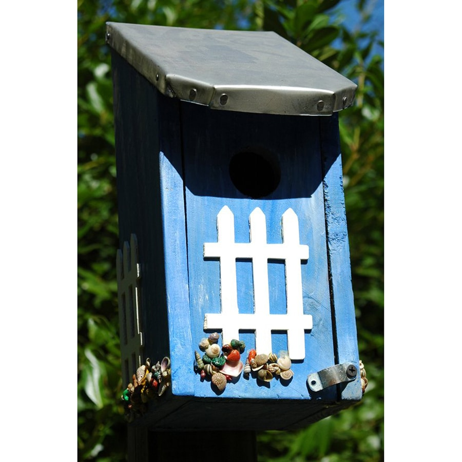 Wilderness Series Products 8-in W x 13-in H x 6-in D Blue/Silver Bird House
