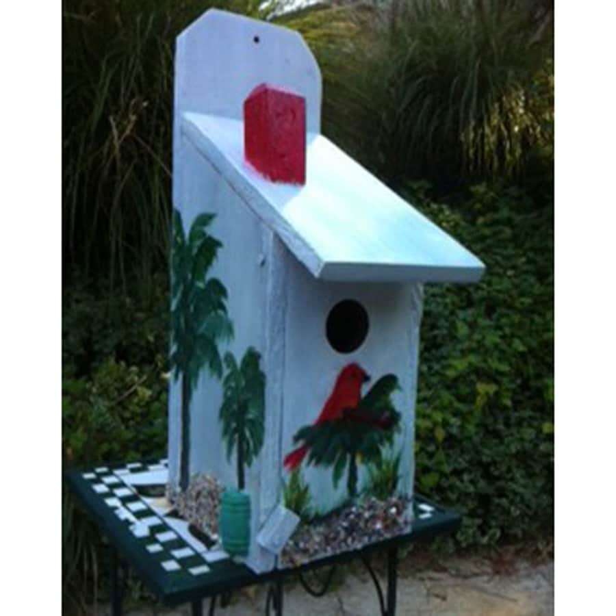 Wilderness Series Products 8-in W x 15-in H x 6-in D Light Blue/Red Bird House
