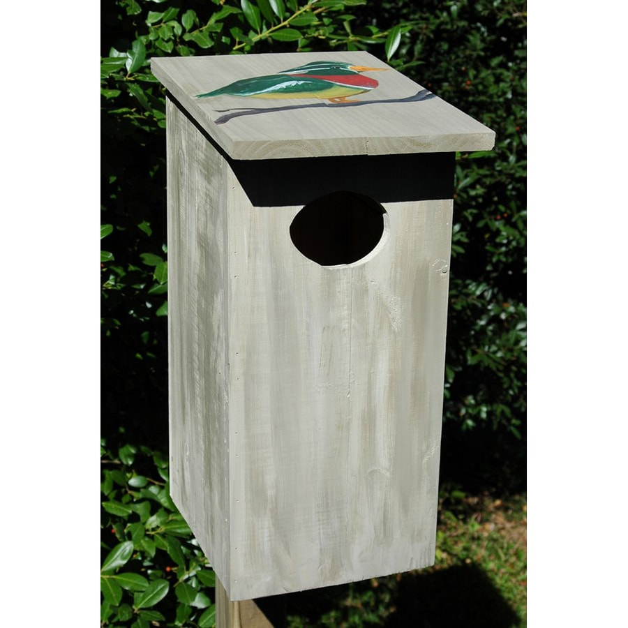 Wilderness Series Products 10.5-in W x 23-in H x 9.5-in D Light Grey Bird House