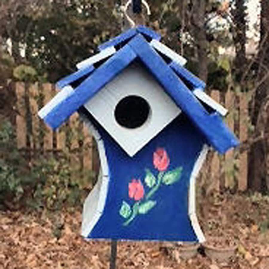 Wilderness Series Products 7-in W x 10-in H x 8-in D Blue/Purple Bird House