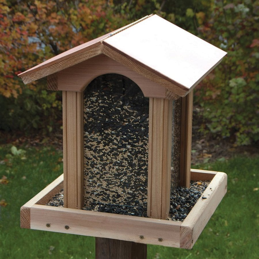 Shop Woodlink Coppertop Cedar Hopper Bird Feeder At Lowes Com