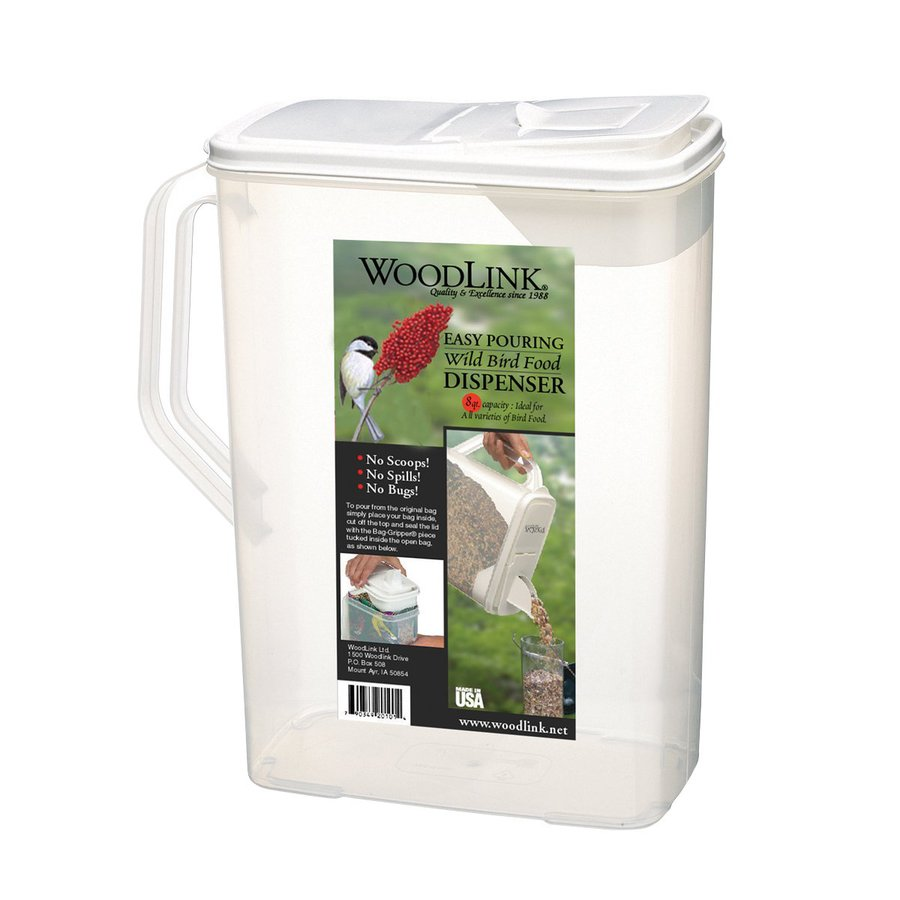 WoodLink 8 QuartS White Plastic Bird Feeder Seed Container