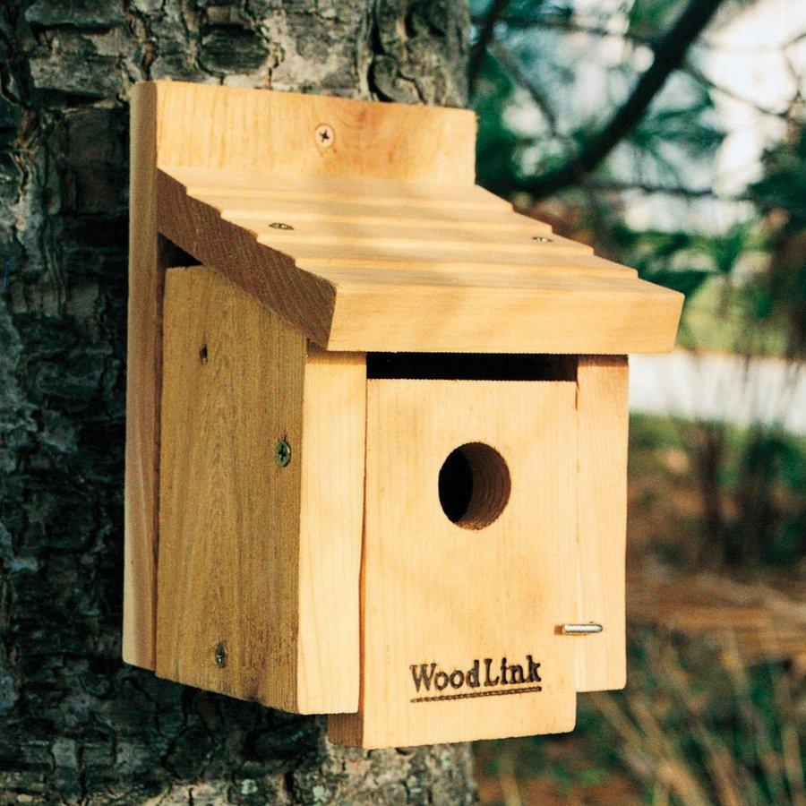 WoodLink 5.5-in W x 8-in H x 5.75-in D Unfinished Cedar Bird House