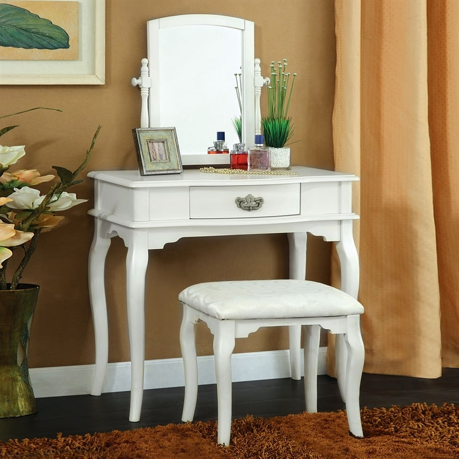 Shop Furniture Of America Madera White Makeup Vanity At Lowes.com
