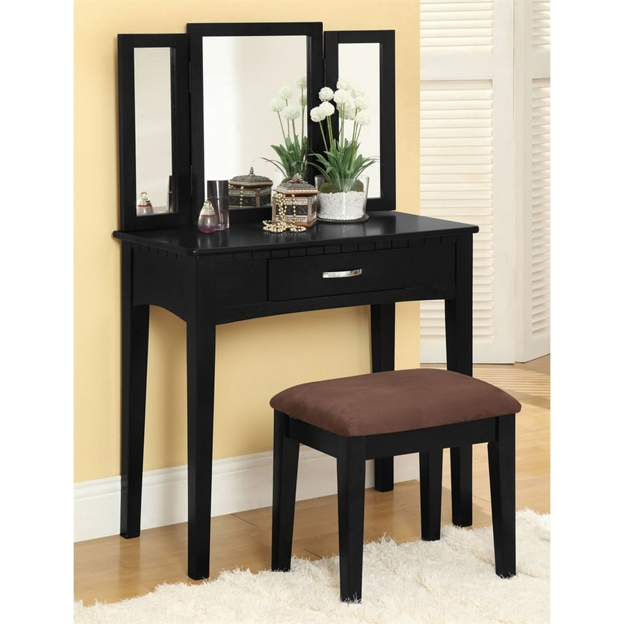 Shop furniture of america potterville black makeup vanity for Black makeup table with mirror