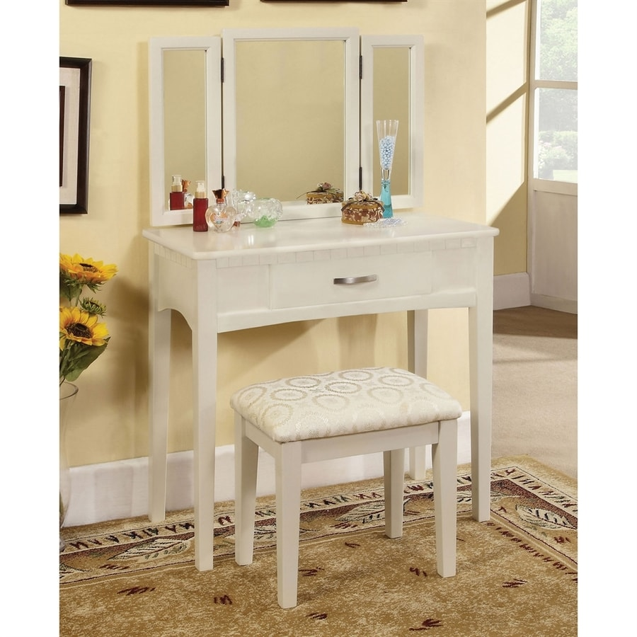 Beau Furniture Of America Potterville White Makeup Vanity