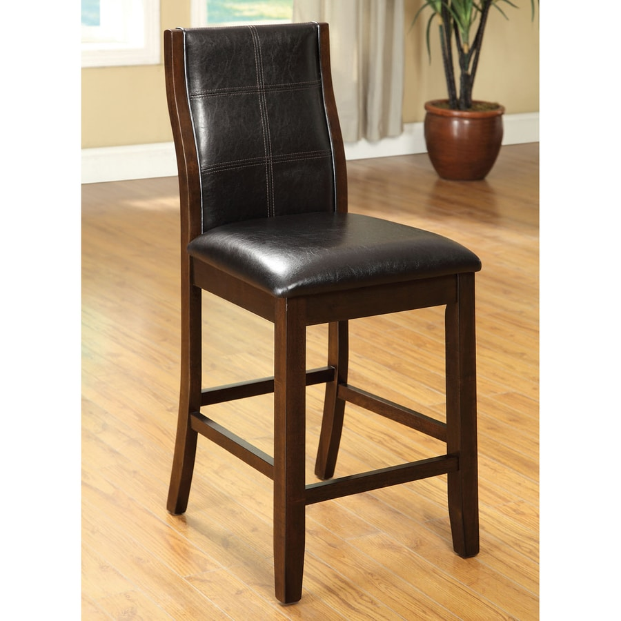 Furniture of America Set of 2 Toronto Brown Cherry 25-in Counter Stools