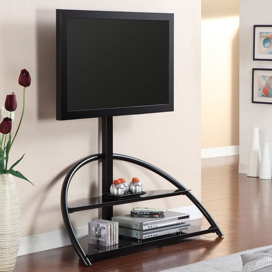 Furniture of America Fitz Black Integrated Mount TV Stand