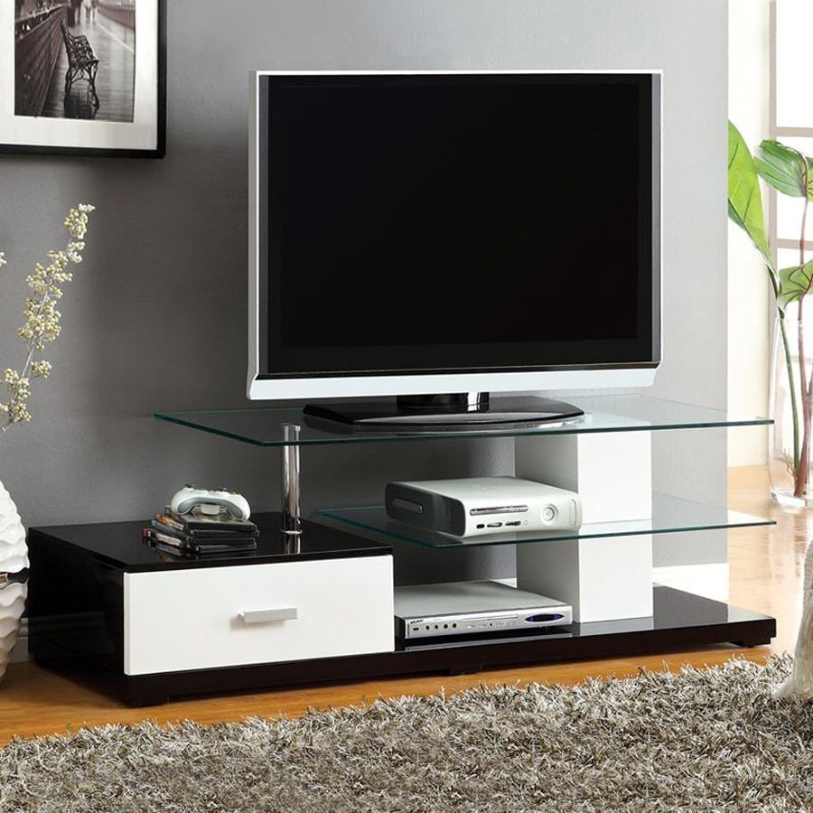 Furniture of America Agrini White/Black TV Cabinet