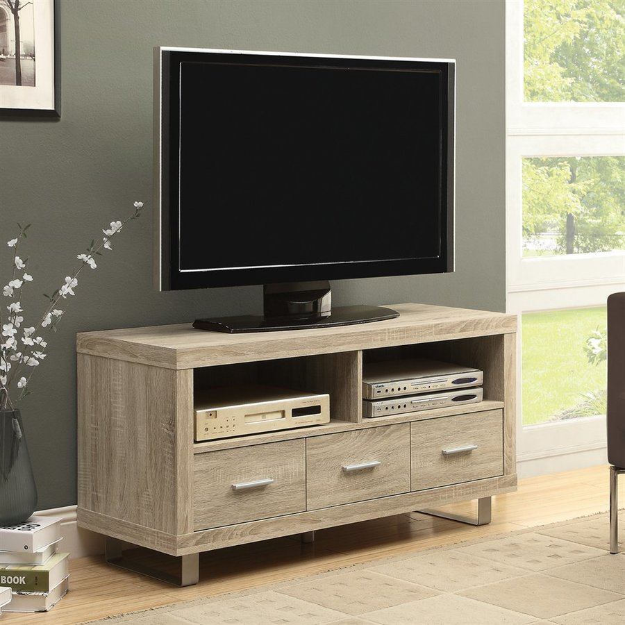 Monarch Specialties Natural Rectangular Television Cabinet