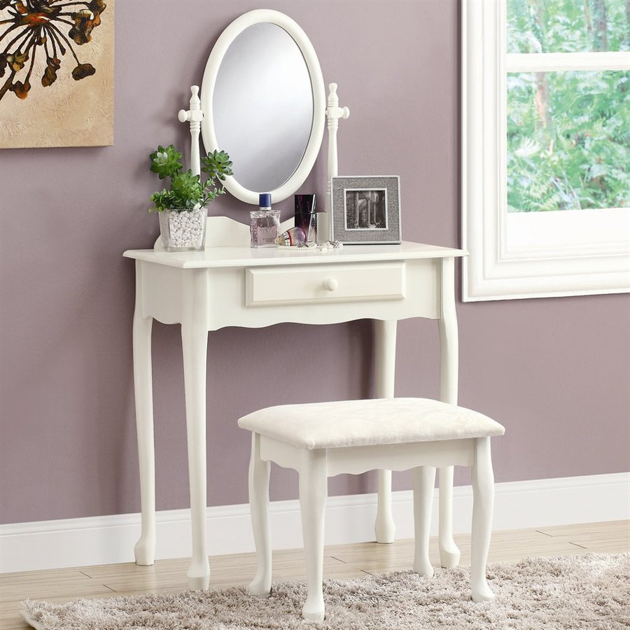 Monarch Specialties Antique White Makeup Vanity
