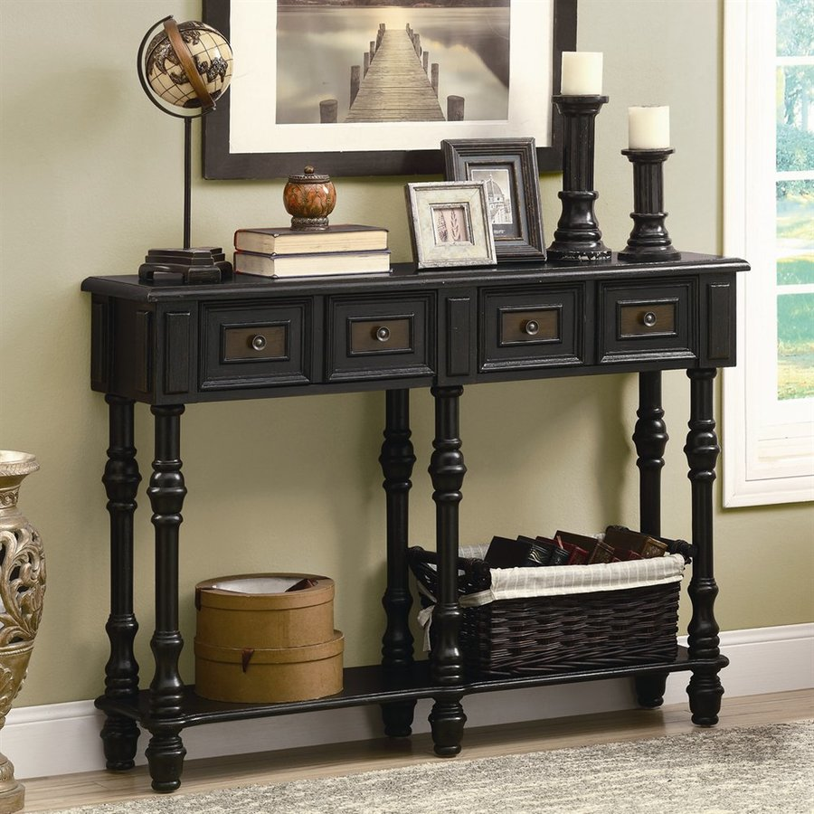 Monarch Specialties Antique Black Rubberwood Console Table