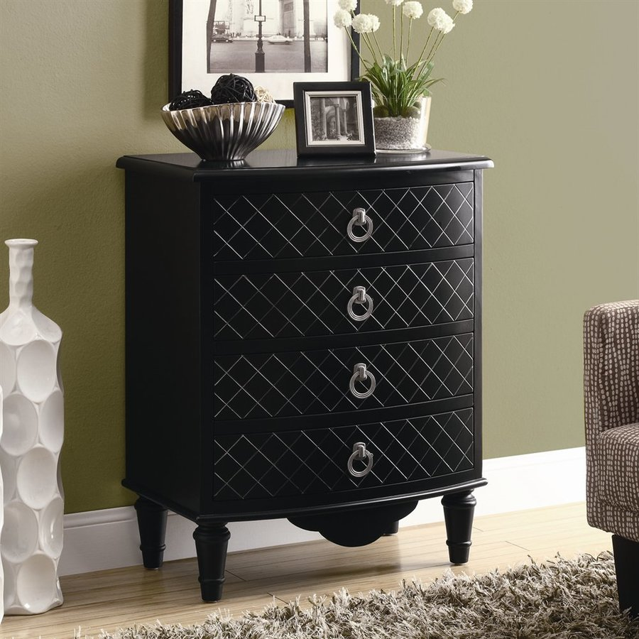 Monarch Specialties Black Diamond 4-Drawer Chest